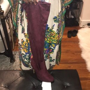 Worn Once Burgundy Over the Knee Boots